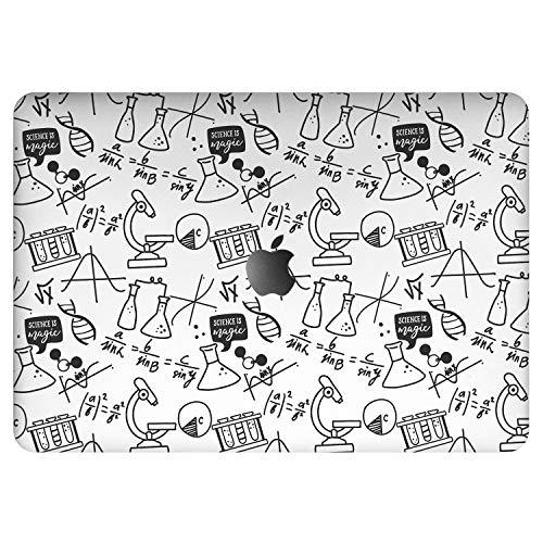 Vonna Vinyl Decal Skin Replacement for Apple MacBook Pro 16' 2019 Pro 13' 2020 Retina 15' Air 13 Mac Air 11 Mac 12 Black Microscope Formulas Design Geometric Cover Sticker Print Chemistry DNA vm1277