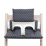 Blausberg Baby *41 couleurs* coussin set de siège pour chaise haute Stokke Tripp Trapp (Gris foncé étoile ENDUIT) - 100% made in Hamburg