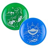 Brinware Tempered Glass and Silicone Plates for Toddlers -Grip Dish (4 Piece Set) Kids Dinnerware Non-Toxic Plate Tableware Dino and Shark Dishes