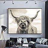 JinYiGlobal Wall Art Nordic Highland Cow Poster e Stampe Animali in Bianco e Nero Immagini su Tela Animali Dipinti Decorazione murale 60x80cm Telaio Interno