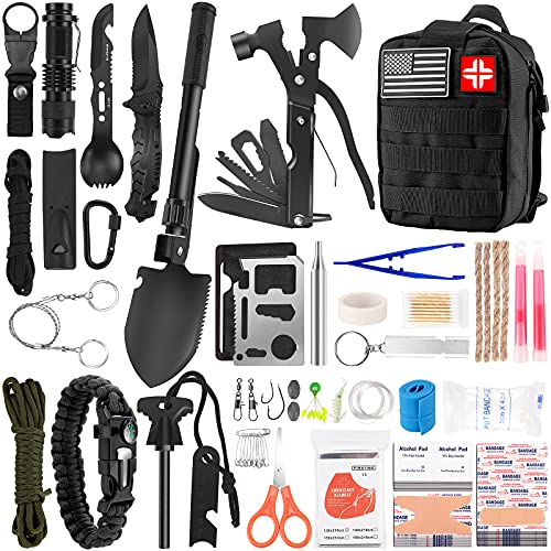 Survival First Aid Kit 142 in 1, Professional Survival Gear and Equipment with Molle Pouch, Gift for Men Dad Him Camping Hunting Fishing Outdoor...