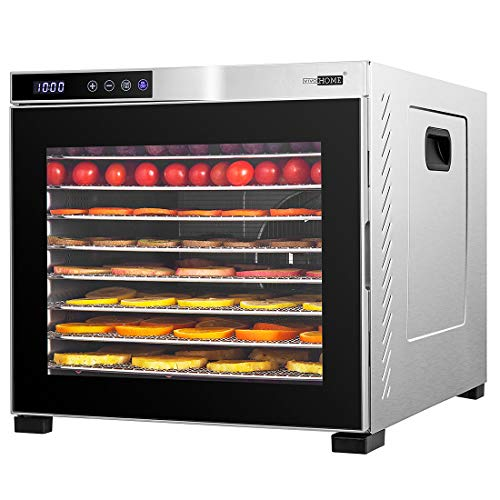VIVOHOME Stainless Steel Electric 1000W 10 Trays Commercial Food Dehydrator Machine with Digital Timer and Temperature Control for Fruit Vegetable Meat Beef Jerky Maker