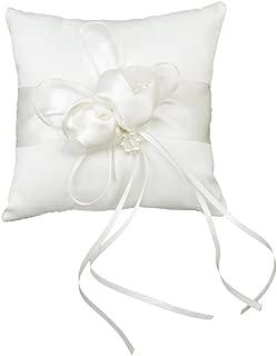 Schnuger Mini-Kissen Ehering Satin Diamante Blumen-Kissen Weiss 15cmx15cm