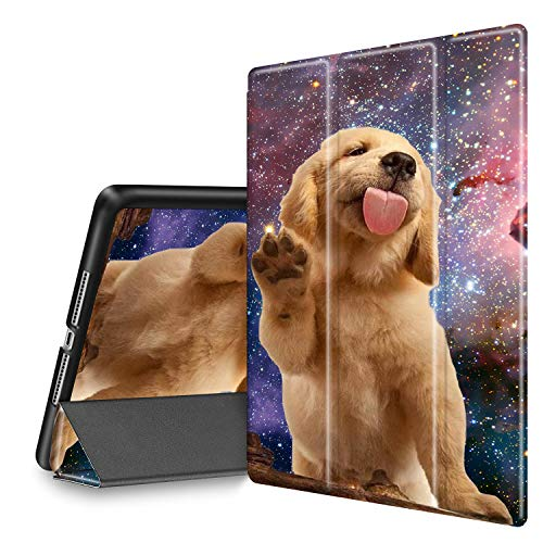 iPad 9.7 2018/2017 Case, iPad Air 2/Air Case, Spsun Lightweight Folio Tri-fold Cover (with Pencil Holder) with Auto Wake/Sleep Smart Case for Apple ipad 6th/5th Gen - Golden Retriever Puppy Dog
