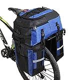 Alforjas 3 en 1 de 70 L para bicicleta, mochila alforja para portaequipajes trasero de bicicleta, bolsa para maletero trasero de bicicleta para llevar todo lo esencial para viajes al aire libre (Azul)