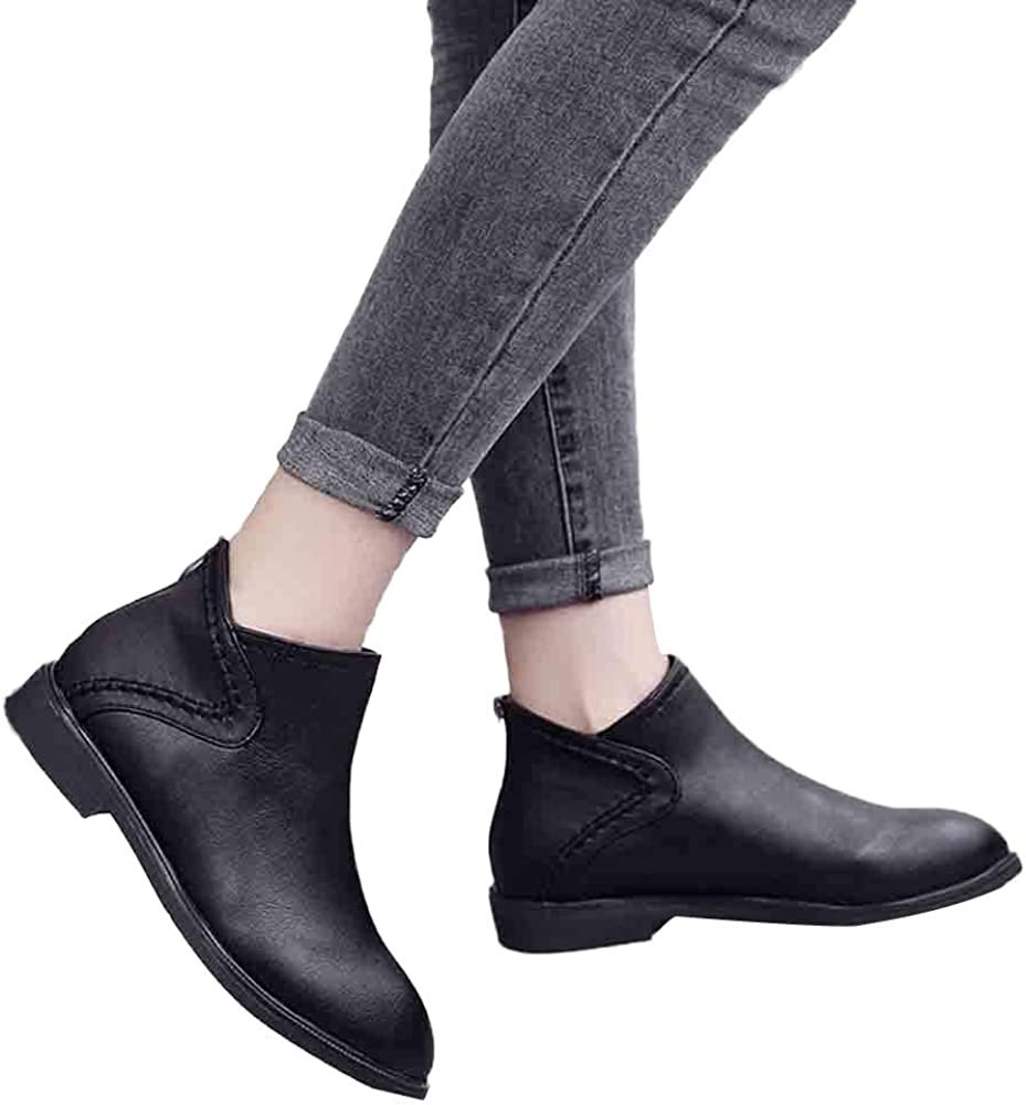 Memela Women Ankle Boots Workout Booties Slip On Wedges Shoes Single Shoes Pointed Toe Zip Boots