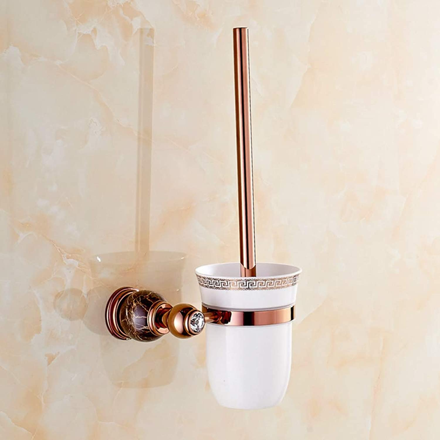 LUDSUY Bathroom accessoriesCopper pink gold Natural Jade Bathroom Toilet Cup Holder with Cup Holders Bathroom Marble, B