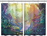 JISMUCI Cortinas para Cocina Animales Marinos bajo el Agua con arrecifes de Coral y Coloridos Peces Acuario Imprimir Cortinas de Ventana Ganchos Juego de 2 Paneles para decoración de casa 140x100CM