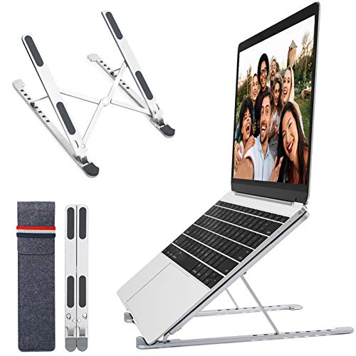JUNEU Laptop Stand, Portable Computer Stand with 8 Levels Height Adjustment, 11-17.3' Notebook, Aluminum Foldable Laptop Riser iPad Tablet Holder Compatible with MacBook, Air, Pro(Silver)