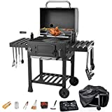 DNNAL BBQ Charcoal Grill, Outdoor Smoker Barbecue Charcoal with Barbecue Accessories, Electric Grilled Chicken Fork and Rain Cover for Home Camping Patio Hotel Villa Garden