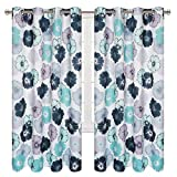 VERTKREA Flower Window Curtain, Floral Grommet Window Curtains, Blooming Blossom Watercolor Drapes for Room, Set of 2 Panels, 52 x 63 Inches, Teal and Gray