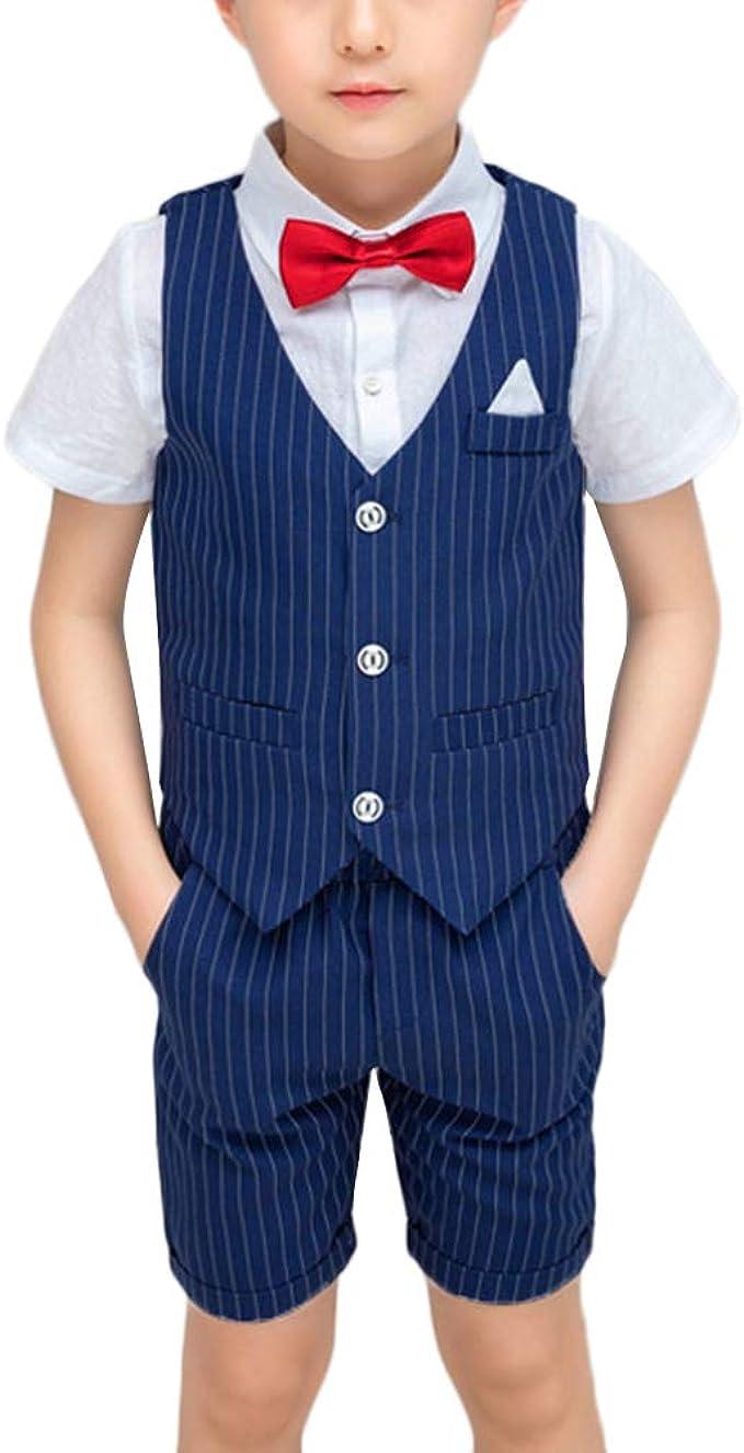 GUOCU Kinder Anzug Set Jungen Hochzeit Sommer Festlich Weste Anzüge  Bekleidungssets