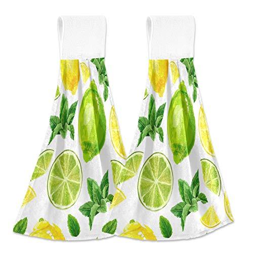 Boccsty Citrus Fruits Lime Lemon Hanging Kitchen Towels 2 Pieces Summer Fruit Dish Cloth Tie Towels Hand Towel Tea Bar Towels for Bathroom Farmhouse Housewarming Tabletop Home