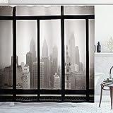 Ambesonne City Shower Curtain, Philadelphia City Rooftop View Through Window Skyline Landmark Rooftop Travel, Cloth Fabric Bathroom Decor Set with Hooks, 75' Long, Gray Black