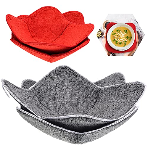 4 Pieces 2 Sizes Bowl Huggers Sponge and Microfiber Small Bowls Holder Large Bowls Bowl Potholders...