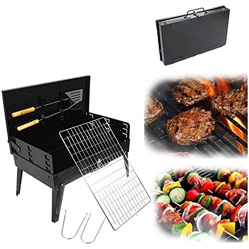 Holzkohlegrills,Haushaltskohle Grill Camping Mini Mini Grill Holzkohle,Kochutensilien BBQ Grill Kit für Picknick, Camping Barbecue Party