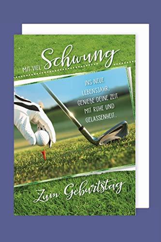 Golf Hobby Sport Geburtstag Karte Grußkarte Abschlag HoleInOne 16x11cm