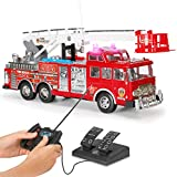 Liberty Imports 20-Inch Jumbo RC Rescue Fire Engine Truck Remote Control Toy with Foot Pedal Control, Extending Ladder, Flashing Lights and Sounds