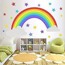 iMagitek Rainbow Removable Wall Stickers for Kids Nursery Living Room Bedroom