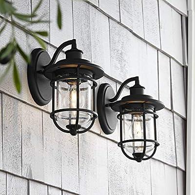 "Markham Modern Nautical Outdoor Wall Light Fixtures Set of 2 Textured Black 10 1/2"" Lantern Clear Seedy Glass for Exterior House Porch Patio Deck - John Timberland"