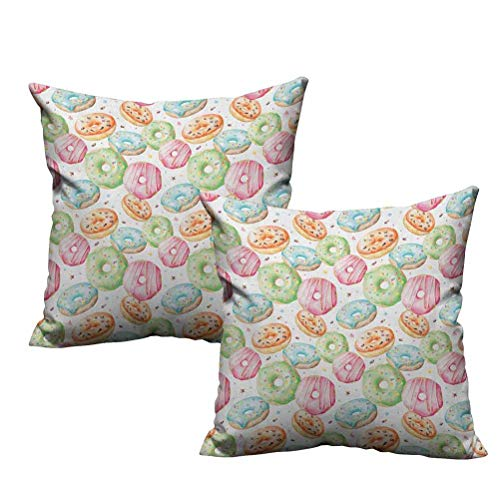 Two Piece Throw Pillow Cushion Cover Sweet Delicious Donuts Pattern with Various Flavors Sprinkles Stars Background 16'x16',Suitable for Sofa,Bed,Home,Office