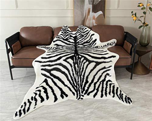 JJZZ 2020 Alfombra de Piel de Animal de imitación Antideslizante Alfombras y alfombras de área de Rayas de Cebra de Vaca para el hogar Sala de Estar Dormitorio Alfombra de Piso Cebra 150x180cm