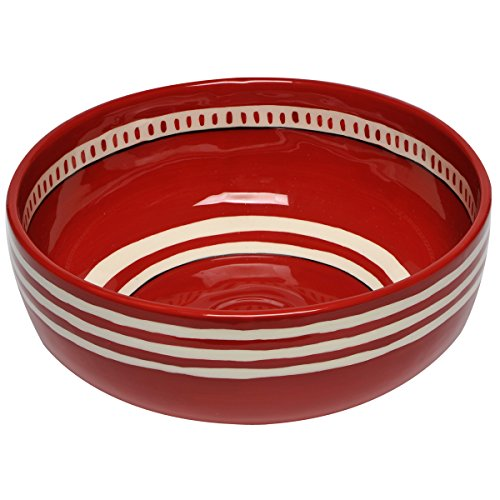 Thompson & Elm M. Bagwell Colors Collection Ceramic Serving Bowl, 9.25-Inches in Diameter, Red