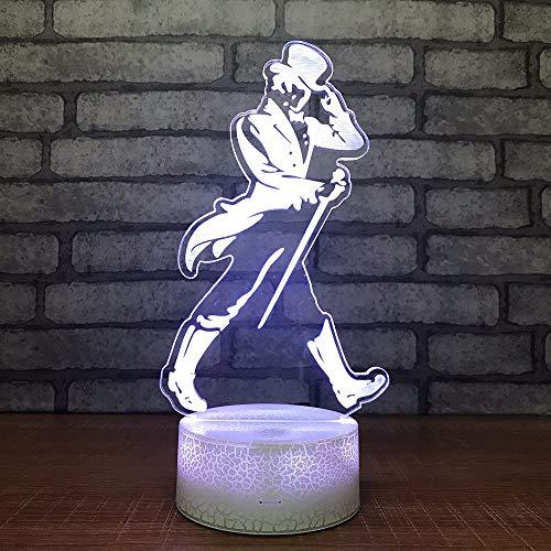 Dtcrzjxh Cadeau Chambre À Coucher 3D Petite Lampe Interrupteur Tactile À Distance Base Blanche Lovely 7 Changement De Couleur Bébé Chambre Lumières Led Night Light