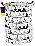 HUNRUNG Large Canvas Fabric Lightweight Storage Basket/Toy Organizer/Dirty Clothes Collapsible Waterproof for College Dorms, Kids Bedroom,Bathroom,Laundry Hamper (Round Tent)