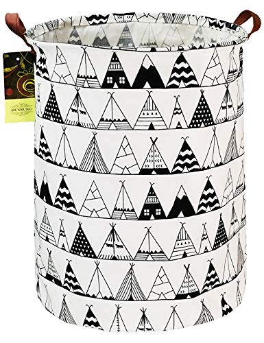 HUNRUNG Laundry Hamper,Large Canvas Fabric Lightweight Storage Basket Toy Organizer Dirty Clothes Collapsible Waterproof for College Dorms, Children Bedroom,Bathroom (Round-Tent)