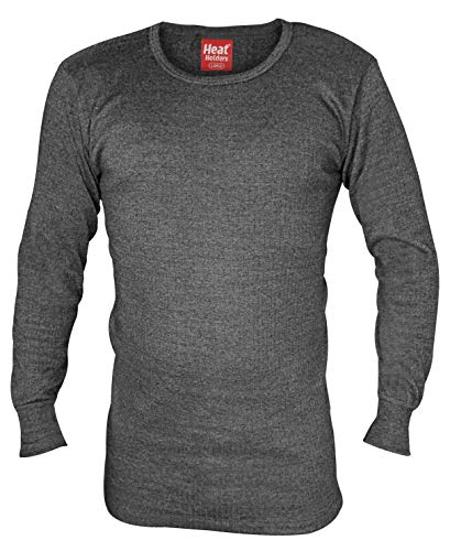 HEAT HOLDERS - Mens Winter Warm Thermal Underwear Long Sleeve Vest Top Shirt (Large: 41-43' Chest, Charcoal)