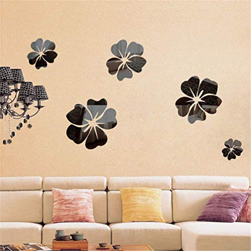 BANNAB Removable Mirror Wall Stickers, Art DIY Home Decorative 3D Acrylic Mirror Wall for Home Living Room Bedroom Sofa TV Wall Decoration Decal 5PCS