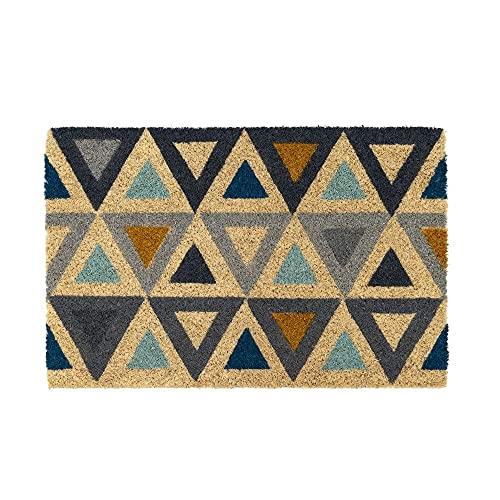 Felpudo de Coco Natural, felpudos Entrada casa, Alfombra Limpia Zapatos, Felpudo Exterior, Alfombra Entrada casa Interior, 60x40 (Triángulo)