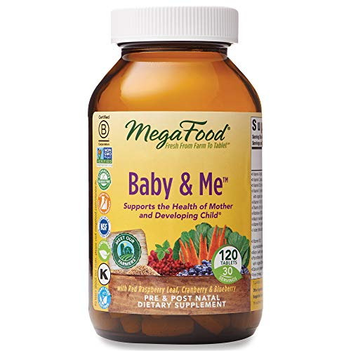 MegaFood, Baby & Me, Prenatal and Postnatal Multivitamin, Dietary Supplement with Folic Acid, Vitamin D and Vitamin B6, Gluten-Free, Vegetarian, 120 Tablets (30 Servings) (FFP)