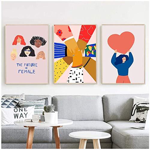 Tbdiberc The Future Is Female Atelier Mave Canvas Poster Pure Love Print Pintura Mujeres Solidaridad Arte De La Pared Imágenes Decoración De La Sala De Estar-40X60Cmx3 Sin Marco