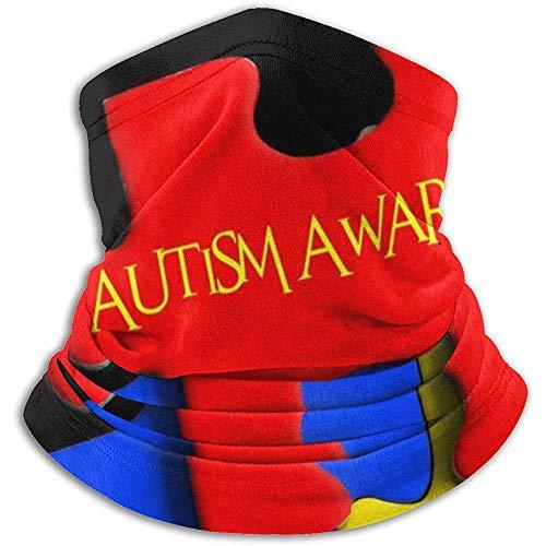 Randy-Shop Autisme Bewustzijn Puzzel Woorden Fleece Nek Warmer Nek Gaiter Cover Balaclava Half Masker