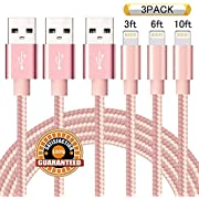 Suanna iPhone Cable 3Pack 3FT 6FT 10FT Nylon Braided Certified Lightning to USB iPhone Charger Cord for iPhone 8 7 Plus 6S 6 SE 5S 5C 5, iPad 2 3 4 Mini Air Pro, iPod Nano 7 - Pink