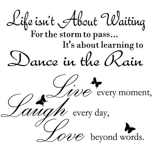 2 Sheets Live Every Moment Laugh Every Day Love Beyond Words Stickers Vinyl Wall Decals Motivational Wall Quote Sayings Stickers Inspirational Quote Butterfly Wall Stickers Home Decors