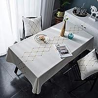 テーブルクロス長方形 キッチンウェディングパーティーの装飾のためにテーブルクロスコットンやリネンのクッションセット、テーブルクロスカバークッションセットの理想のために4-6場所設定、2色 (Color : B, Size : 140x250cm+2 cushion)
