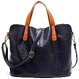 Soft PU Leather Zipper Shoulder Bag De Gran Capacidad Casual Solid Tote Handbags para Mujeres 32X13X24Cm Negro