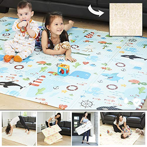 Reversible Baby Play Mat amp Exercise Mat  Fun amp Stylish Foam Floor Playmat for Adults Kids and Infants Elegant Room Decor Transforms into Large Fun Activity Gym Mat for Yoga or Crawling Fun