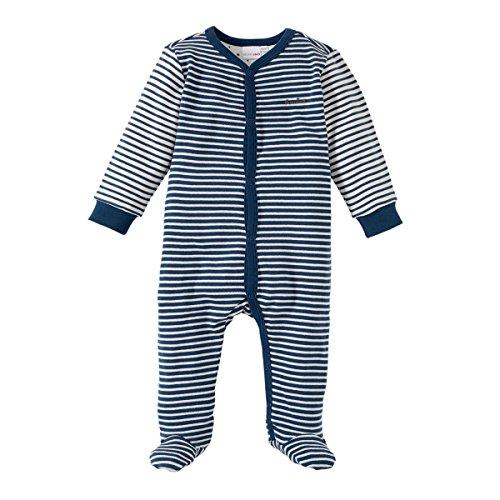 Bornino Bornino Basics Schlafoverall - Baby-Pyjama Geringelt - Overall aus Reiner Baumwolle mit Patches an Ellenbogen & Paspelierung an Druckknopfleiste