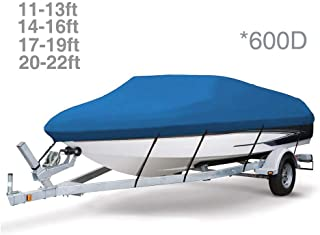 Dulcii Boat Cover, 600D Heavy Duty Boat Cover Waterproof Trailer V-Hull Jet Ski Covers Boat Covers, Four Sizes for Choose, Blue
