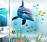 HALLOBO® XXL Wandtattoo Wandaufkleber Delphin Delfine Unterwasserwelt Marine Meer Wandbild Wohnzimmer Schlafzimmer Kinderzimmer Deko