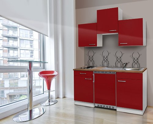 respekta Single keuken kitchenette kitchenette 150 cm wit rood met APL Butcher notenhout Ceran KB150WRC