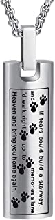 Cremation Jewelry Necklace for Ashes, Pet Paw Print Memorial Pendant Made of 316L Stainless Steel, Dog Ashes Keepsake Locket for Men for Women