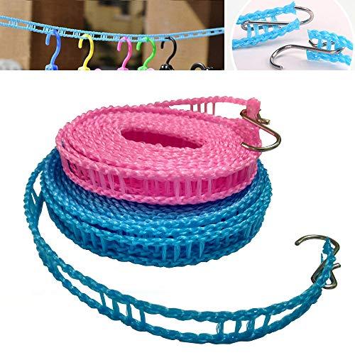2 unidades de cuerda de nailon resistente al viento, cuerda de secado para ropa de viaje, cuerda portátil para ropa de lavandería,...
