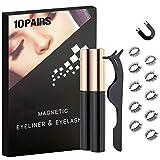 Fairbee Eyelash Magnetic Eyeliner Magnetic Lashes and Eyeliner Magnetic Eyelashes,sparse&bushy,3 pairs/5 pairs/10 pairs (Black,10 pairs)