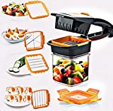 DIBEJI Vegetable Chopper 5 in 1 Multi-Function Slicer Vegetable & Fruits Cutter Dicer Grater & Chopper Peeler with Container Onion Cutter Kitchen Multi Color