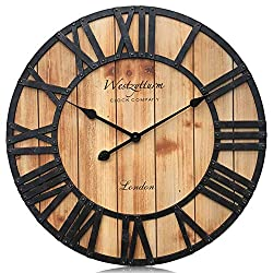 Westzytturm Wall Clock Wooden Frame,Oversized Farmhouse Vintage Style Metal Roman Numeral Silent Big Digital Mantel Clocks,for Living Room Decorative Bedrooms Home Kitchen Office(Brown 24 inch)